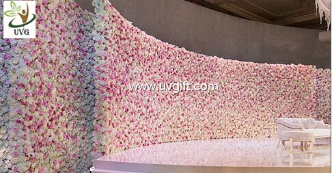 UVG 16ft long curved artificial flower backdrop wall in silk roses for wedding stage decoration CHR1106