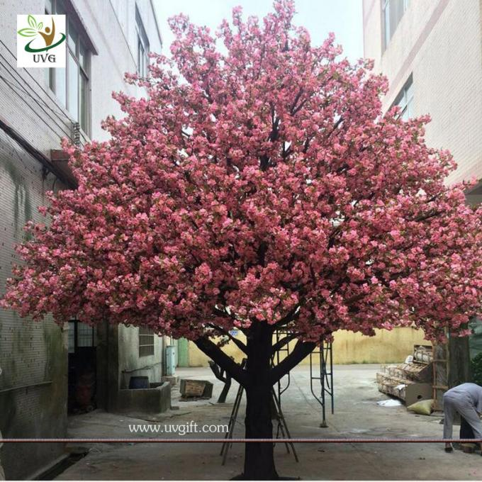UVG 4m Decorative artificial tree with white cherry blossoms for wedding stage decoration