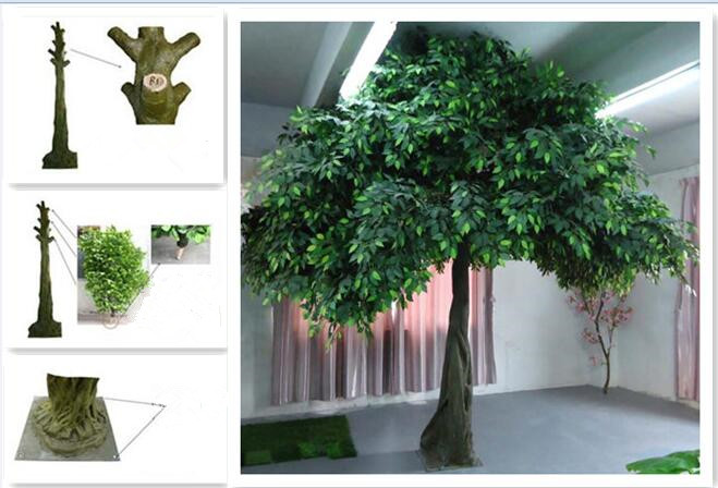 UVG GRE09 Gold banyan leaves big fake indoor trees in wooden trunk for hotel landscaping