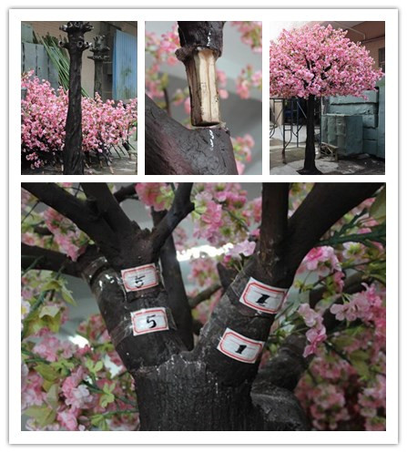 UVG wedding planner in china pink faux trees in peach blossoms for wedding decoration