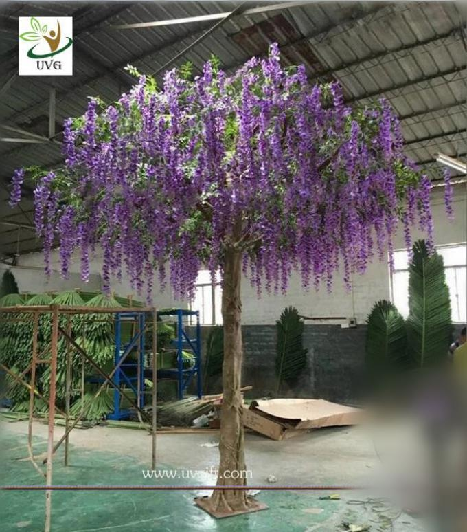 UVG WIS011 4 meters purple fake trees with silk wisteria flowers for party decoration