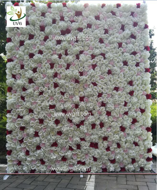 UVG 8ft high pink realistic fake roses wedding flower wall backdrops for photography