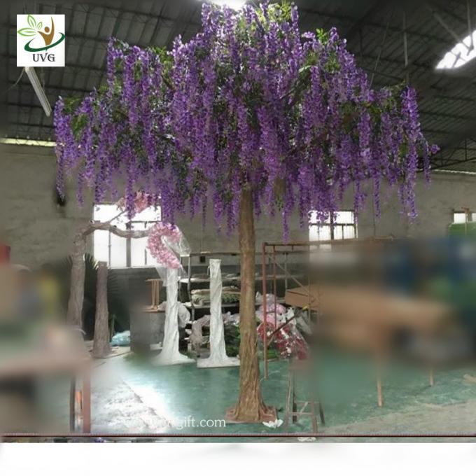 UVG walk way decoration 10ft white wisteria blossom fake trees for wedding WIS014