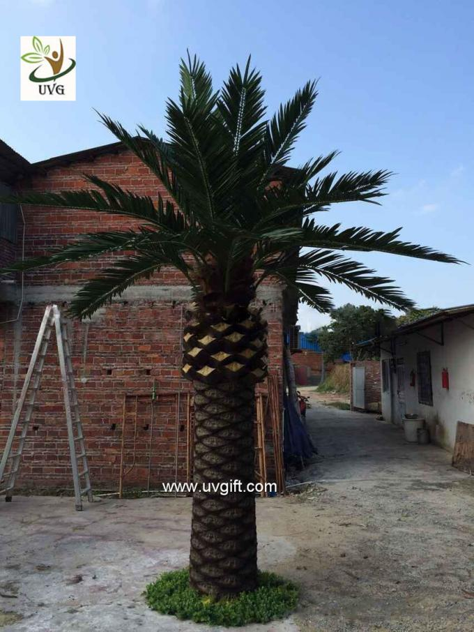 UVG large glassfiber artificial palm tree outdoor with green silk leaves for water world decoration PTR060