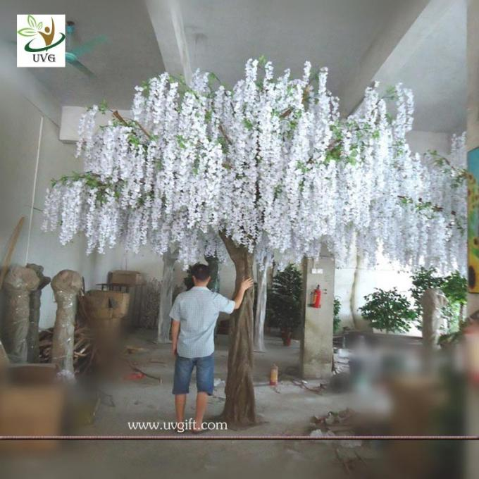 UVG WIS003 china home decor wholesale 4 meters tall white artificial wisteria flowers wedding blossom tree