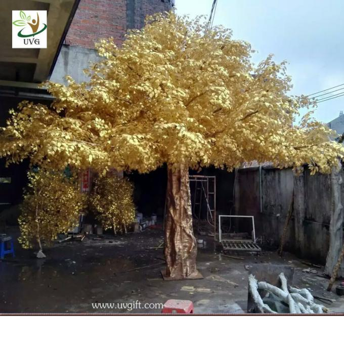 UVG 4m tall living gold banyan leaves artificial trees for outdoors GRE056