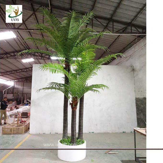 UVG indoor bonsai artificial mini palm trees with plastic leaves for office landscaping PTR061