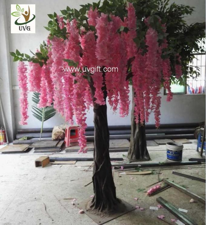 UVG unique wedding ideas decorative small artificial wisteria blossom indoor silk trees for sale WIS019