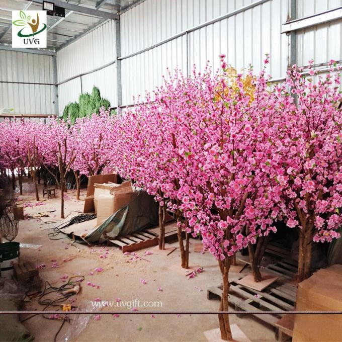 UVG small artificial peach blossom wooden tree wedding reception decorations selling products CHR166