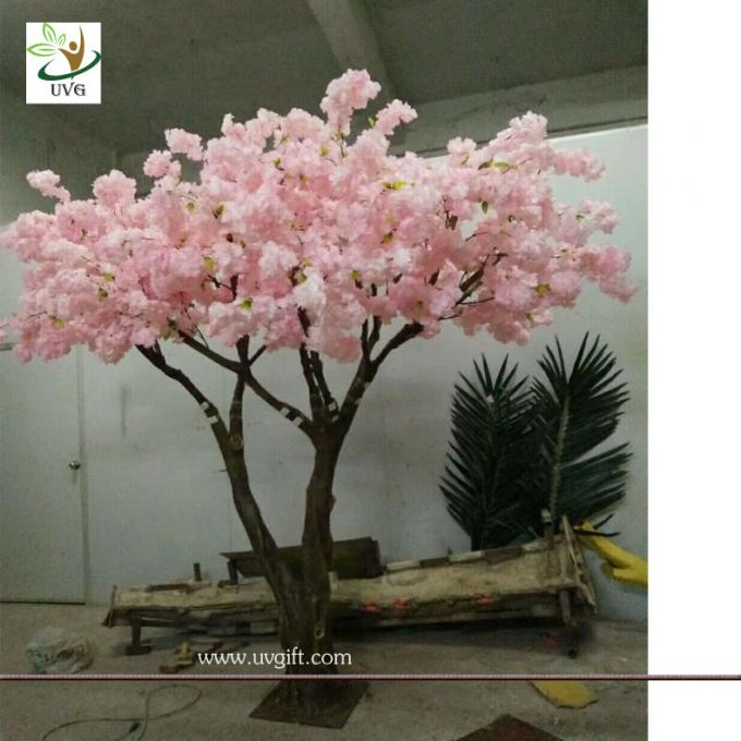 UVG Fabulous church wedding decoration ideas in baby pink fake cherry blossom trees for stage background CHR173